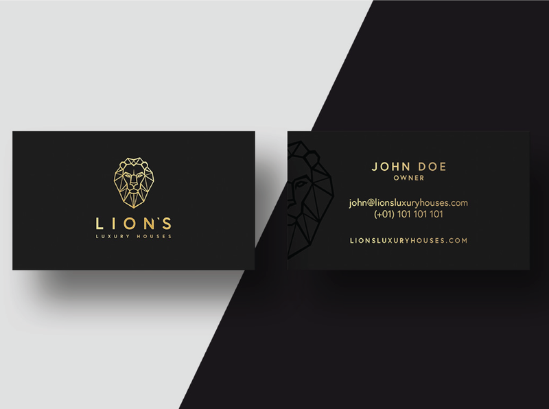 Business cards Lion's Luxury Houses linear simple business cards branding prestige luxury logo luxury design luxury branding gold luxury logo