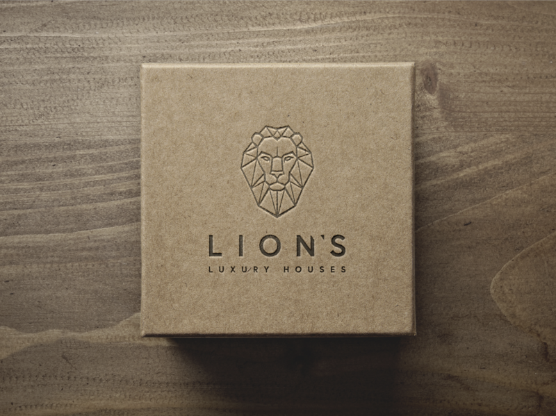Lion's Luxury Houses logo design branding paper labeling luxury prestige luxury logo luxury design luxury branding gold package