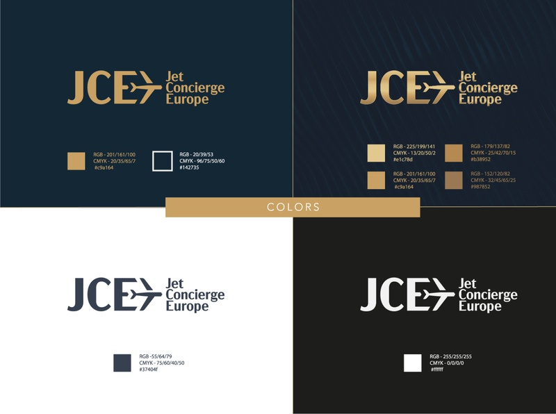JCE Jet Concierge Europe logo colors prestige luxury logo luxury design luxury branding luxury concierge jet logo airline logo ailine jet branding branding and identity brand identity logo design logodesign gold