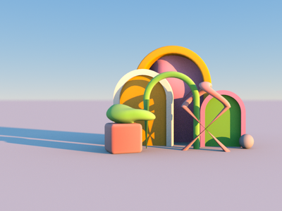 Abstract 3D pastel colours 3d arches 3d arches 3d primitives 3d primitives 3d shapes 3d geometric shapes 3d geometry geometry geometric shapes arches octane cinema4d surrealism abstract art