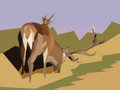 London Deer low poly illustration antlers animal london richmond deer