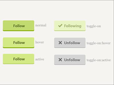 Follow Buttons flat buttons interaction spec blippy