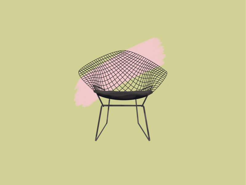 Harry Bertoia—Diamond Chair midcentury modern midcenturymodern midcentury gouache furniture design diamond chair brushes 30daychallenge illustration