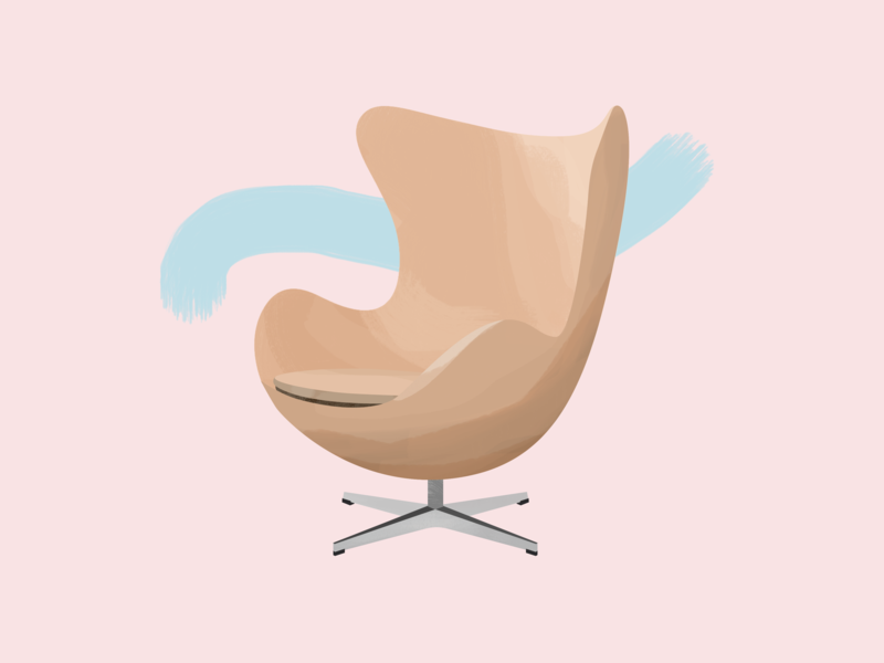 Arne Jacobsen—Egg Chair danish denmark egg chair egg design midcentury modern midcenturymodern midcentury illustration gouache furniture design chair brushes 30daychallenge
