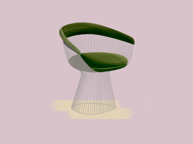Warren Platner—Platner Chair platner design chair midcentury modern midcenturymodern midcentury illustration gouache furniture design brushes 30daychallenge