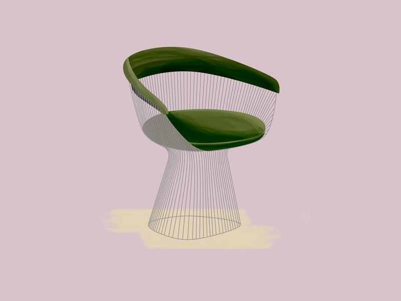 Warren Platner—Platner Chair platner design chair midcentury modern midcenturymodern midcentury illustration gouache furniture design brushes 30daychallenge