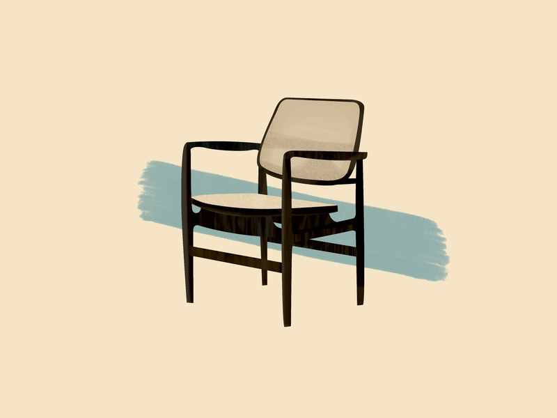 Sergio Rodrigues—Oscar Lounge Chair lounge chair oscar design chair midcentury modern midcenturymodern midcentury illustration gouache furniture design brushes 30daychallenge