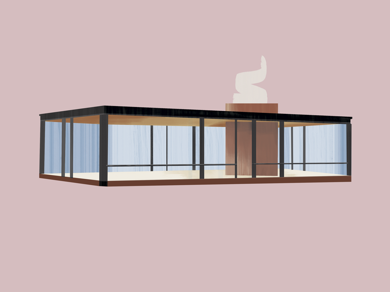 Philip Johnson—Glass House—Johnson House glass philip johnson architecture design midcentury modern midcenturymodern midcentury illustration gouache brushes 30daychallenge