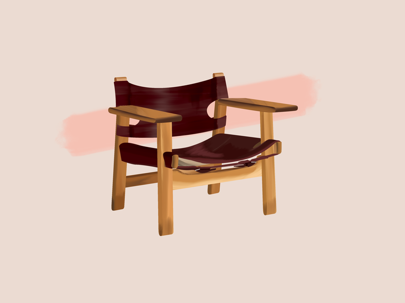 Børge Mogensen—Spanish Chair spanish spanish chair mogensen børge denmark danish chair furniture design design midcentury modern midcenturymodern midcentury illustration gouache brushes 30daychallenge
