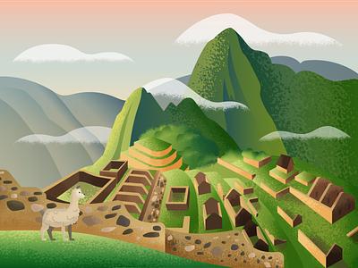 Machu Picchu alpacas world of wonder peru machu picchu vector illustration 36daysoftype
