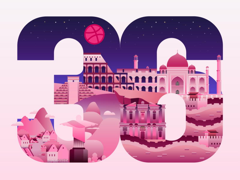 36 days of type Dribbble christ the redeemer petra colosseum great wall tajmahal machu picchu chichen itza seven wonders of the world dribbble hellow grabient design vector illustration 36daysoftype