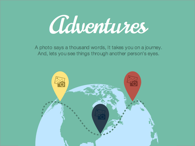 Adventures adventure iconography branding globe map