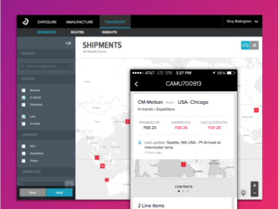 Transport- an app for logistic managers web mobile shipping logistics map visualization