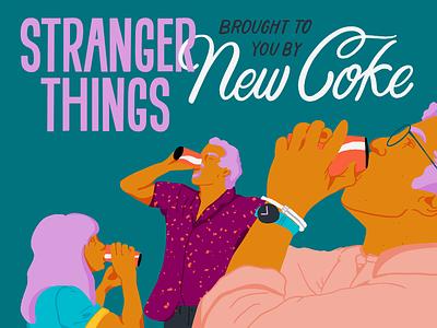 Stranger Things x New Coke bold design recolor bold color color palette screengrab coca cola coke new coke strangerthings3 strangerthings netflix procreate raster illustration design