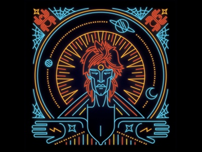 Ziggy Stardust and the Spiders From Mars classic rock space oddity album art ziggy stardust david bowie space neon