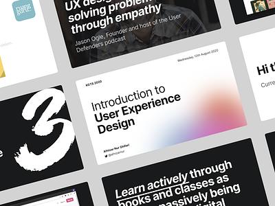 Introduction to User Experience Design Slide Design slide design figma freebie flat presentation design minimal deck slide