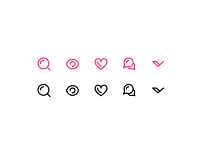 Essential Icons Exploration preview eye chat search heart chevron icon set exploration iconography icons icon