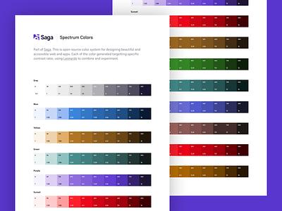 Saga Spectrum Colors styleguide ui apps web flat purple pallete a11y spectrum design system colors