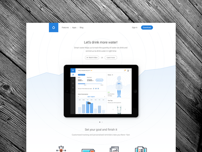 Smart Water Landing Page drink water healthcare health illustration icon visualization website web design home automation smart concept flat landing page