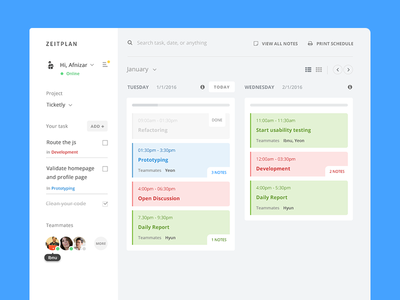 Zeitplan Schedule+Task blue simple minimal todo task productivity board kanban dashboard web design desktop flat application