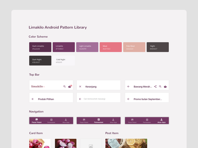 Limakilo Android Pattern Library header card material design website rule book style guide design system guideline material android web design minimal flat
