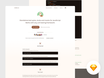 Sinon.JS Homepage Redesign freebie vintage sinon javascript code application flat retro redesign responsive open source design jekyll sketch template free open source minimal web design landing page