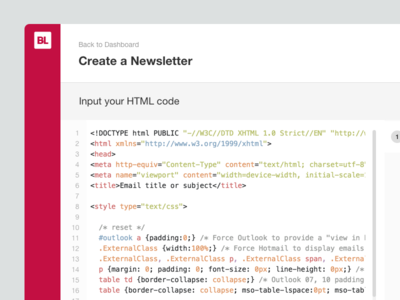 Create a Newsletter editor full width preview newsletter email code editor mailchimp code dashboard web design flat