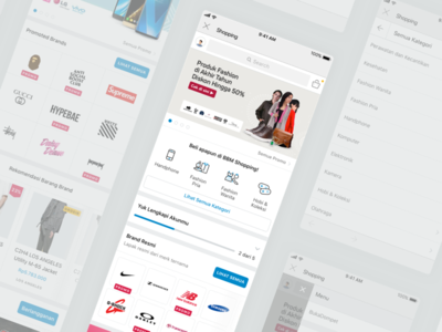 New BBM Shopping Sneak Peek bbm ecommerce shopping card section search slider home icon blue homepage app redesign web mobile minimal flat