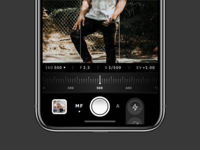 Light Manual Control Iteration dslr shutter viewfinder flat skeumorphism camera simple mobile minimal concept app