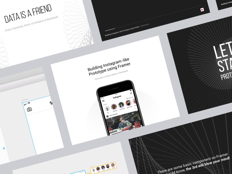 Building Instagram-like Prototype Using Framer Slide Deck Design slide design framer design minimal flat slide deck