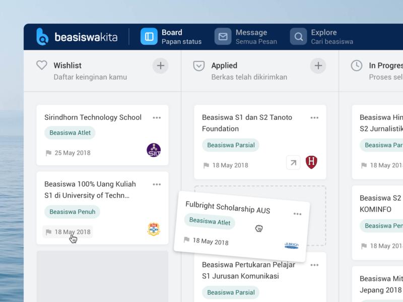 Beasiswakita - User Board trello grid layout text clean simple minimal board kanban scholarship dashboard application concept web design