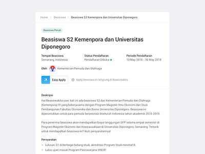 Beasiswakita - Scholarship Detail flat web design minimal animation website scholarship detail blog product typography card