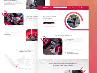 BukaBike Landing Page Exploration app minimal flat bike sharing website landing page bike concept web design