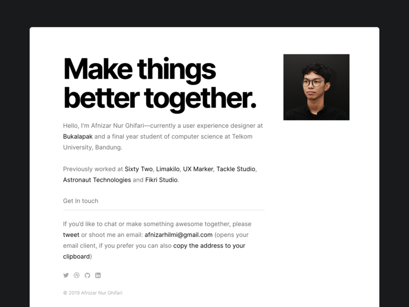 Personal Site bold about biography portfolio website under construction personal typography design web design