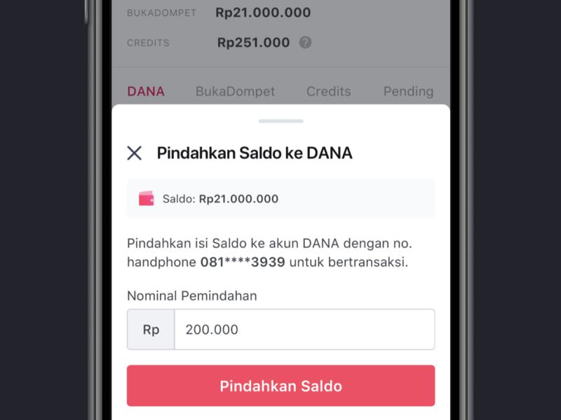 Move Balance to DANA mobile bottom sheets user interface app balance transfer wallet payment minimal
