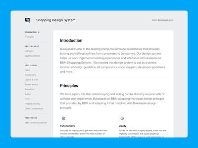 Introduction Page - BBM Shopping Style Guide web app design principle web design website principle documentation design system style guide guideline flat navigation blue