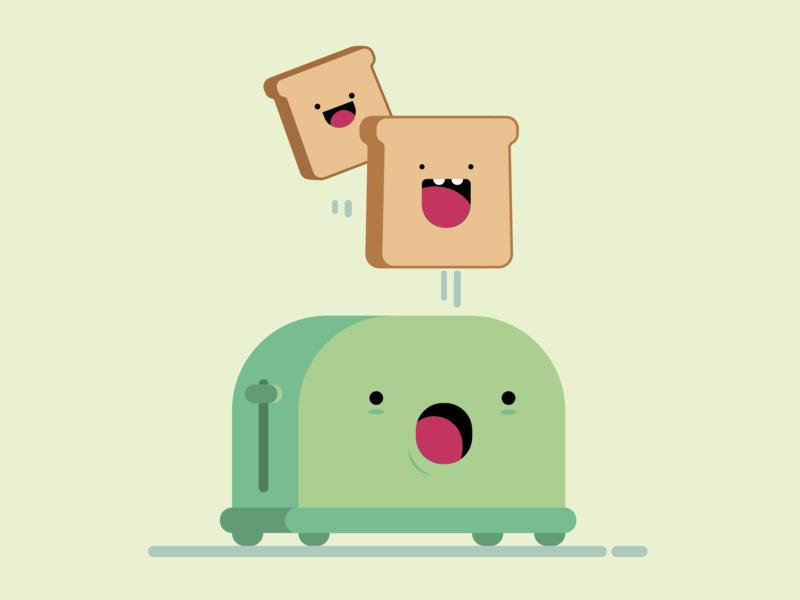 Toast vector character flat illustration illustration art illustration toaster toast