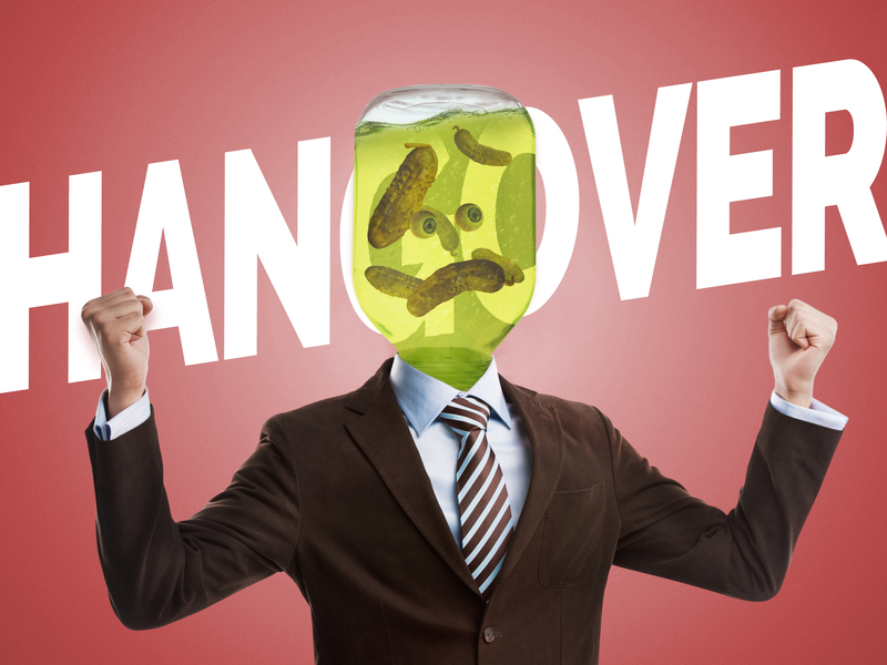 Hangover poster photomanipulation head jar hangover pickles illustration adobe photoshop cc