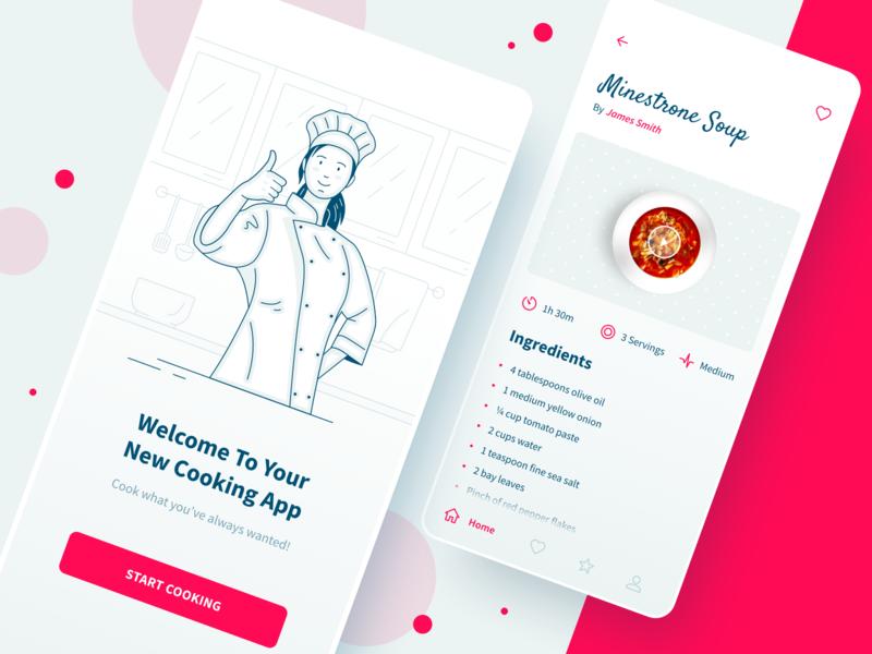 Cooking app soup red recipe app food app cook outlines outline chef food cooking pink flat illustration vector ux ui sketch inspiration design