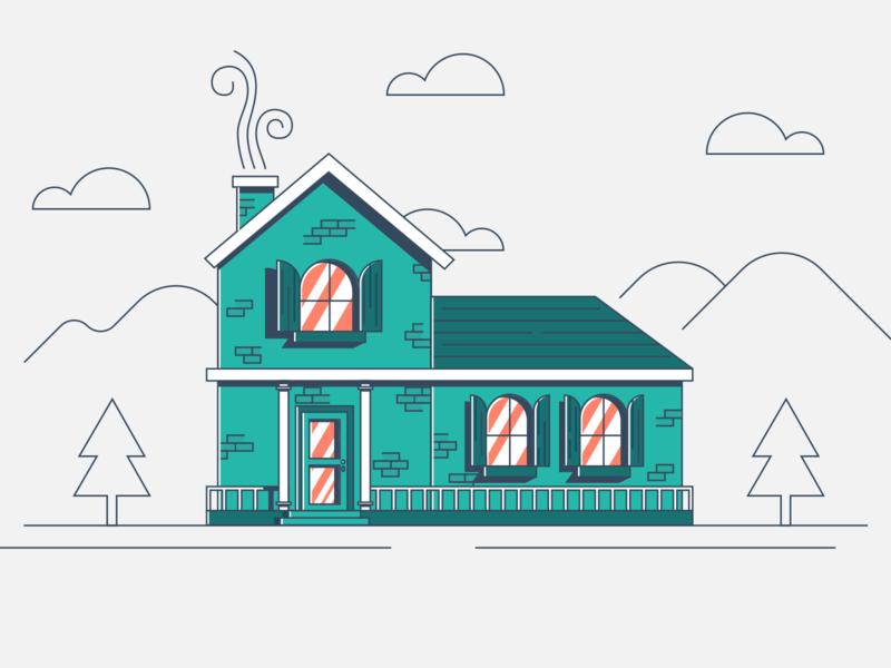 House illustration houses outlines outline roof street orange home green house flat  design flat vector illustration modern ui sketch web inspiration design