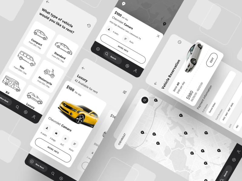 Car Rental App location explore vehicle map search payment icons rental rent car app ux flat web design illustration ui sketch web inspiration design