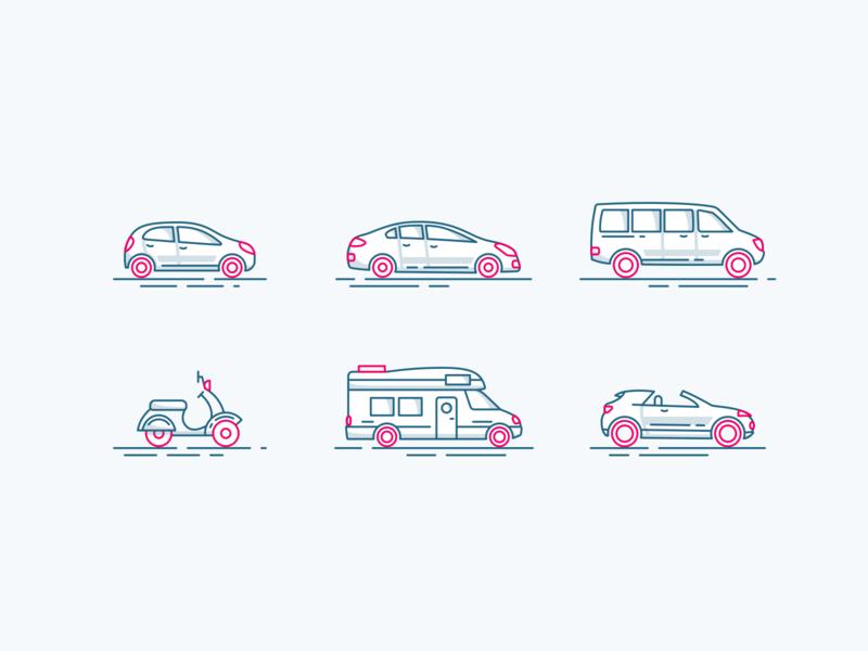 Vehicles Illustration outlines outline car rental pink vehicles vehicle cars illustrations iconset icons ux flat web design vector illustration ui sketch web inspiration design
