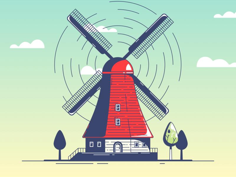 Windmill illustration gradient icon holland outlines outline street red wind windmills windmill web design vector flat illustration ui sketch web inspiration design