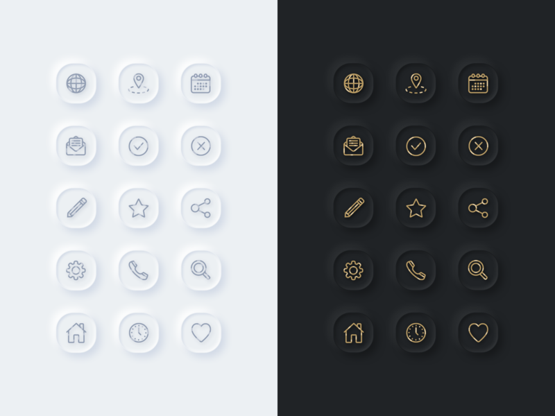 Essential Neumprphic Icons essential gold outlines outline icons icon dark light neumorphism neumorphic app ux web design vector illustration ui sketch web inspiration design