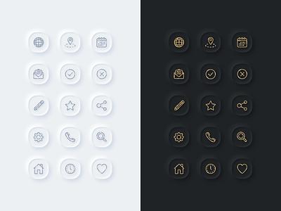 Essential Neumorphic Icons essential gold outlines outline icons icon dark light neumorphism neumorphic app ux web design vector illustration ui sketch web inspiration design
