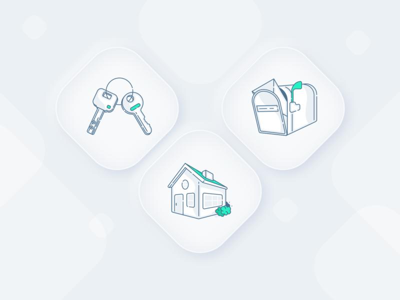 Outline illustrations perspective green mail mailbox home house keys key outlines outline neumorphism neumorphic ux vector illustration ui sketch web inspiration design