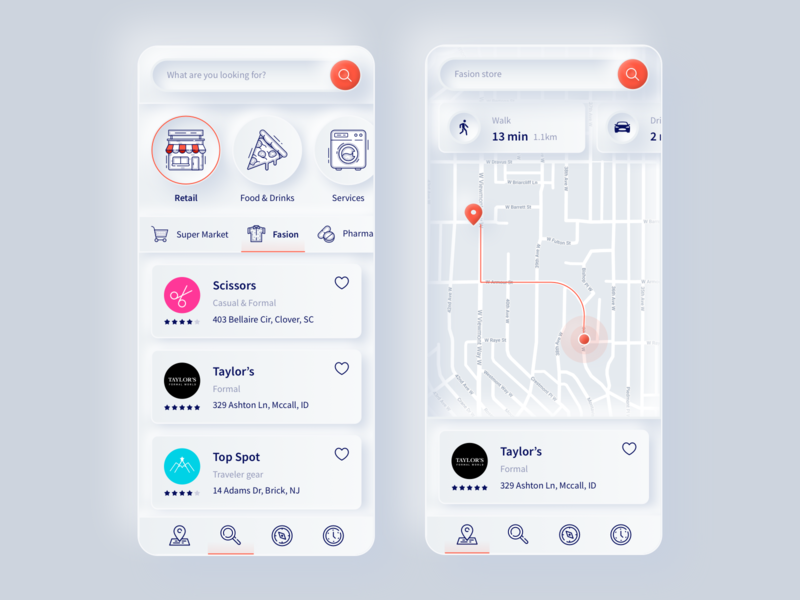 Business Search outlines outline route map app retail search business neumorphism neumorphic ux web design vector modern ui illustration sketch web inspiration design