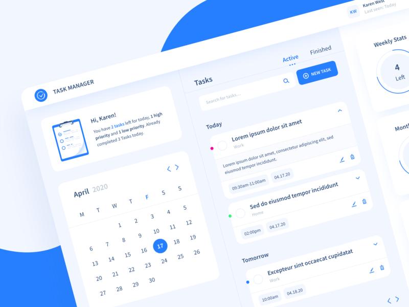 Task Manager dashboard to do list stats calendar tasks list manager task blue website app to do ux vector illustration ui sketch web inspiration design