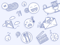 Illustrations confetti bathroom utensils smile face kite movie icons icon illustrations website flat ux vector illustration ui sketch web inspiration design