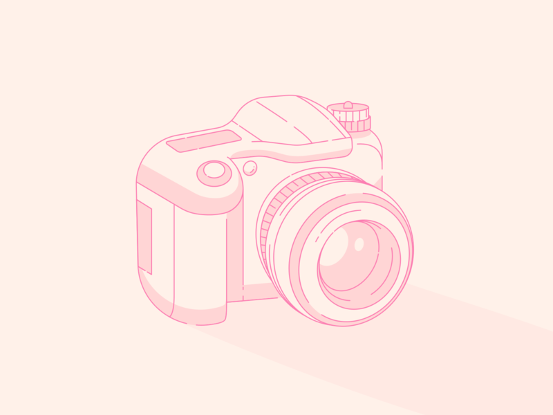 Camera icon outlines outline flash warm pink poto picture photography camera website ux flat vector illustration ui sketch web inspiration design